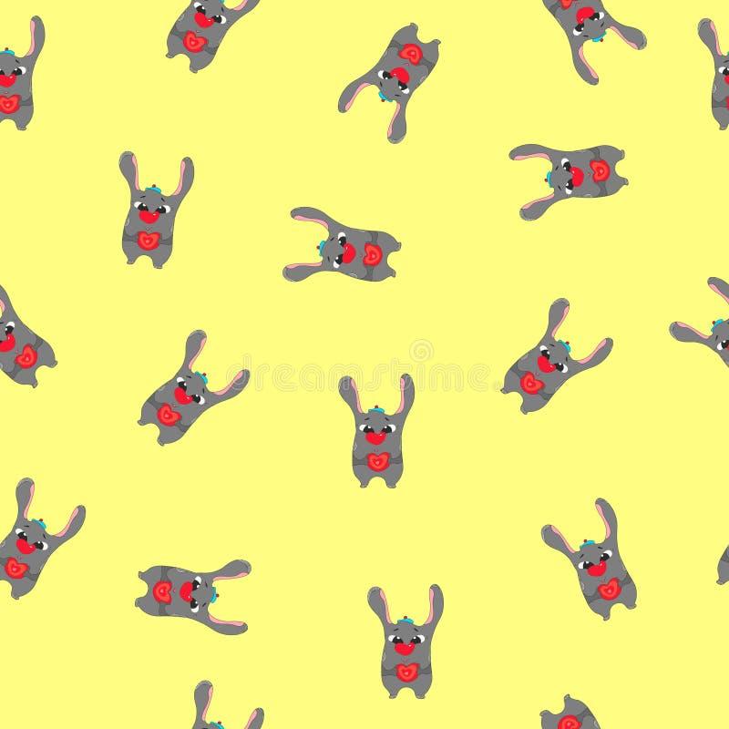 Pattern rabbit hare puppy head face holding pink heart. Cute cartoon kawaii funny baby animal character. Flat design vector illustration