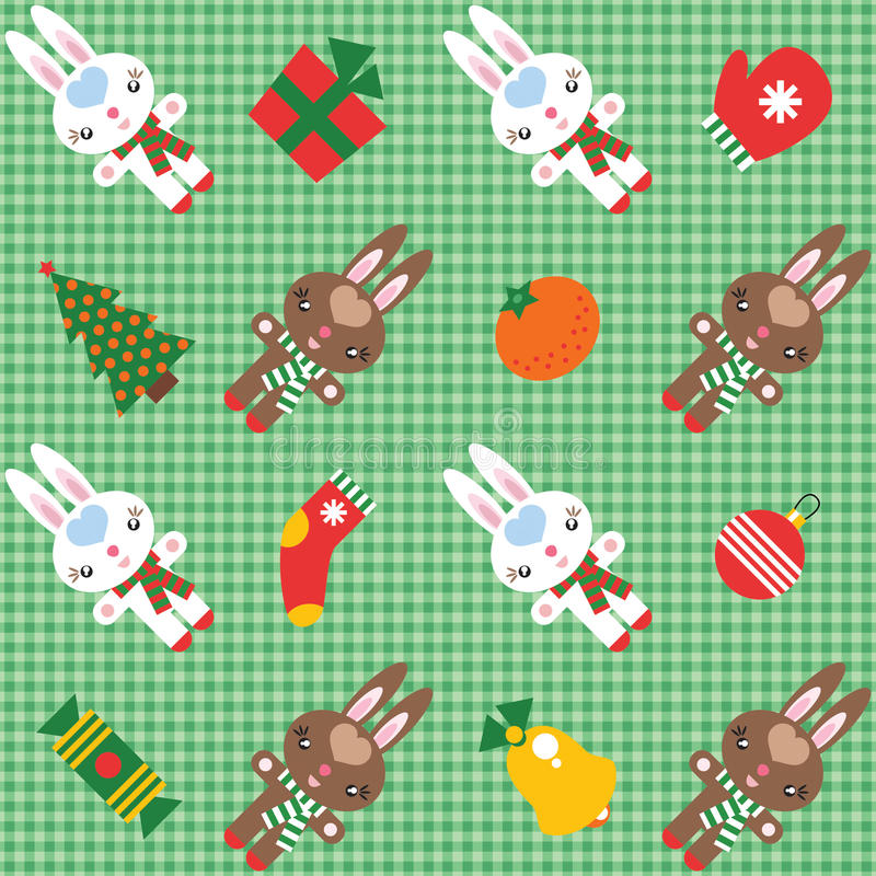 Download Pattern With Rabbits And Christmas Decorations Stock Vector - Illustration: 17295261