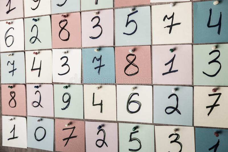 Pattern of randomly distributed numbers from zero to nine in color.  royalty free stock images