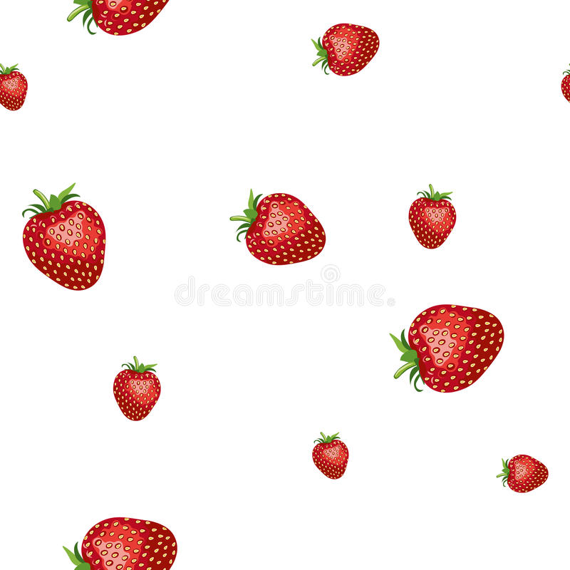 Pattern of realistic image of delicious ripe strawberries different sizes. White background royalty free illustration