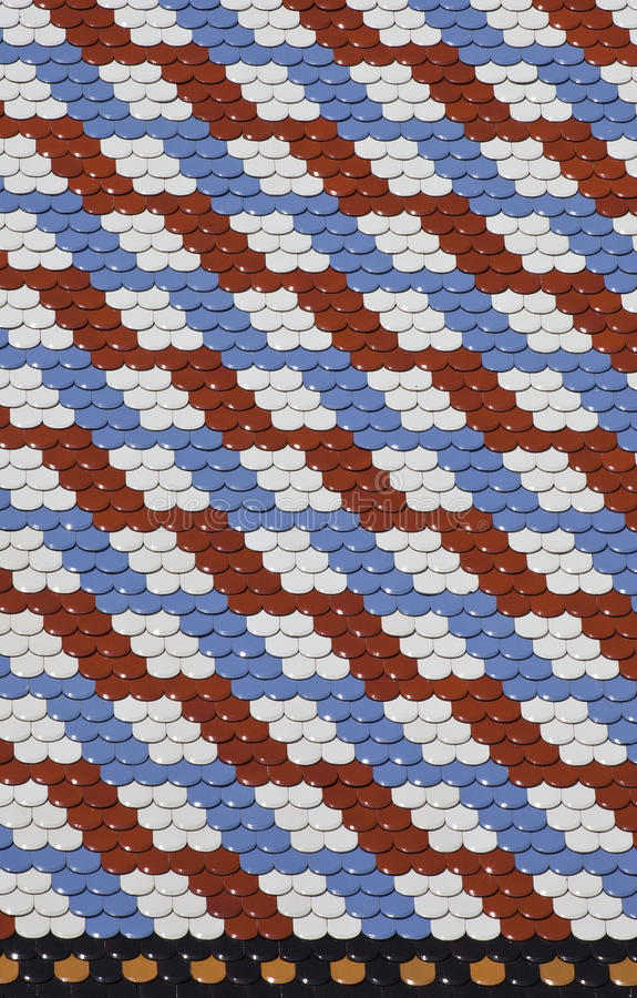 Pattern. Red blu and white color patern made of ceramic tiles on the roof of Sain Marko church in Zagreb, Croatia royalty free stock photo