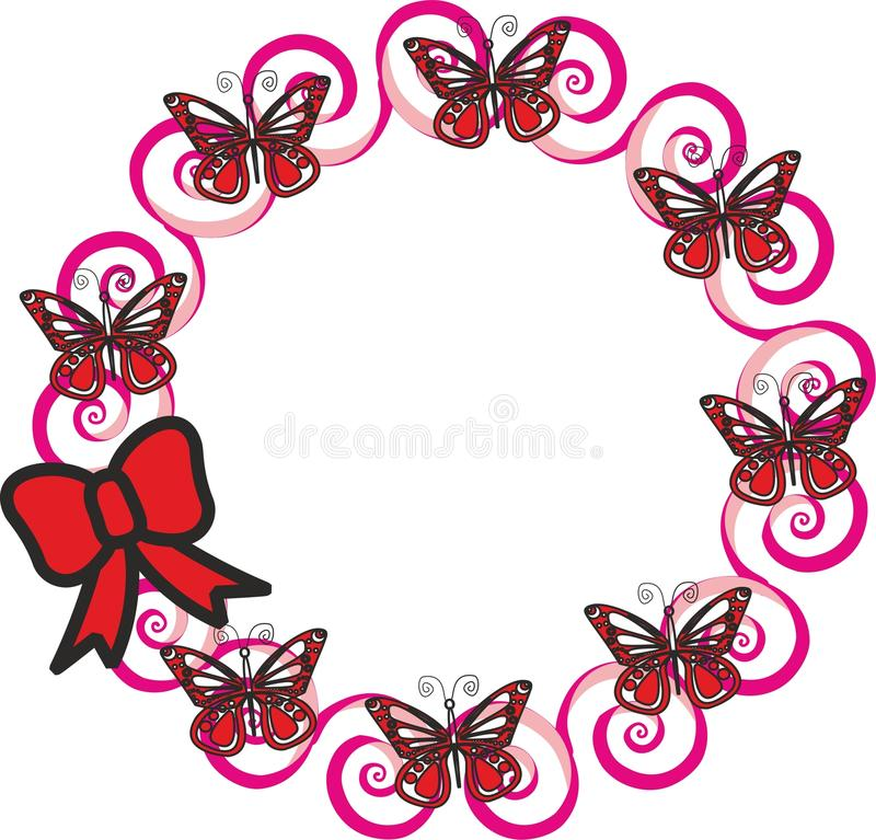 Pattern, red butterflies on pink flowers. stock photos