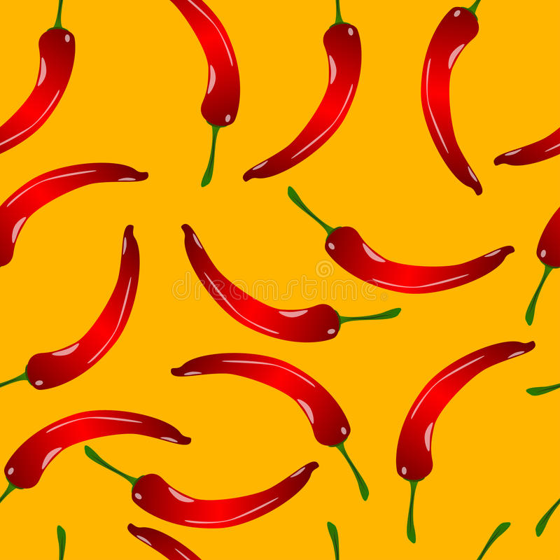 Pattern of red chili on a yellow background royalty free stock photo