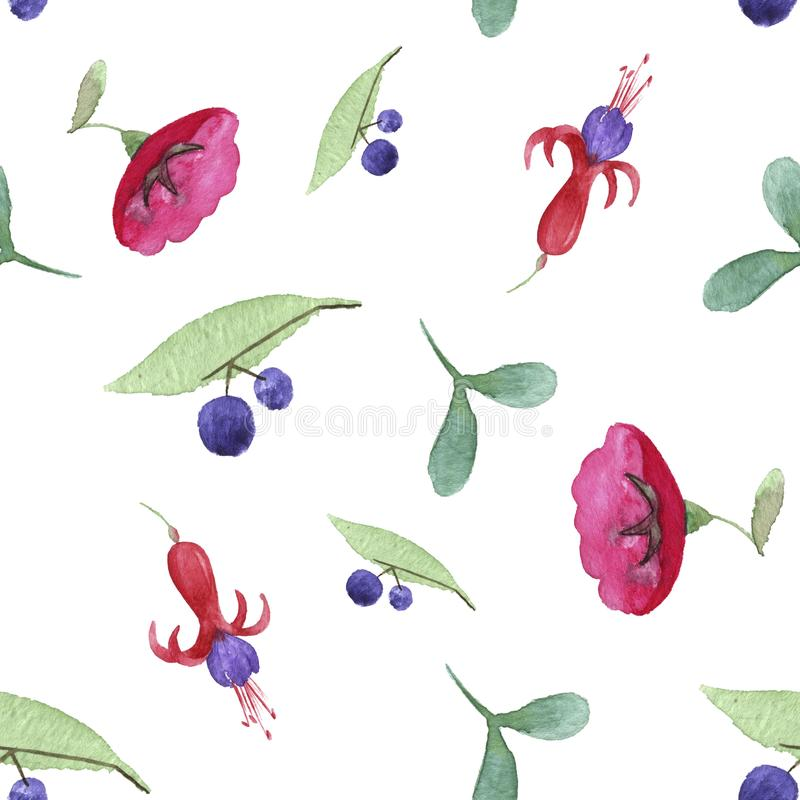 Seamless pattern of flowers and berries stock photo