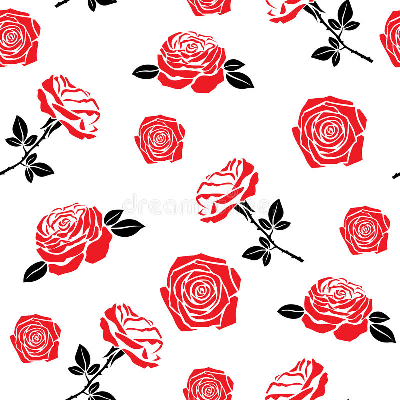 Download Pattern Of Red Flowers Roses Stock Vector - Illustration of leaf, romantic: 28906287