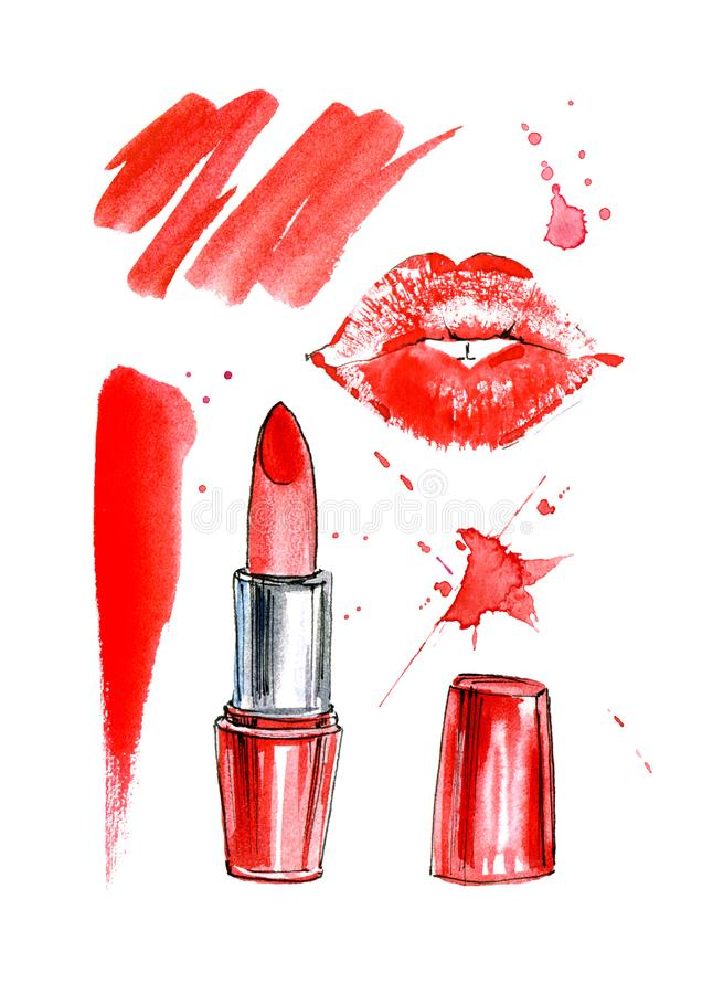 Pattern of a red lipstick, lip prints and splashes. Fashion,cosmetics and beauty image.Watercolor hand drawn illustration.White background royalty free illustration