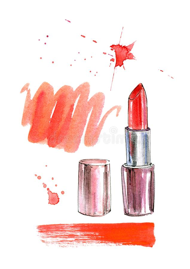 Pattern of a red lipstick, lip prints and splashes. Fashion,cosmetics and beauty image.Watercolor hand drawn illustration.White background stock illustration