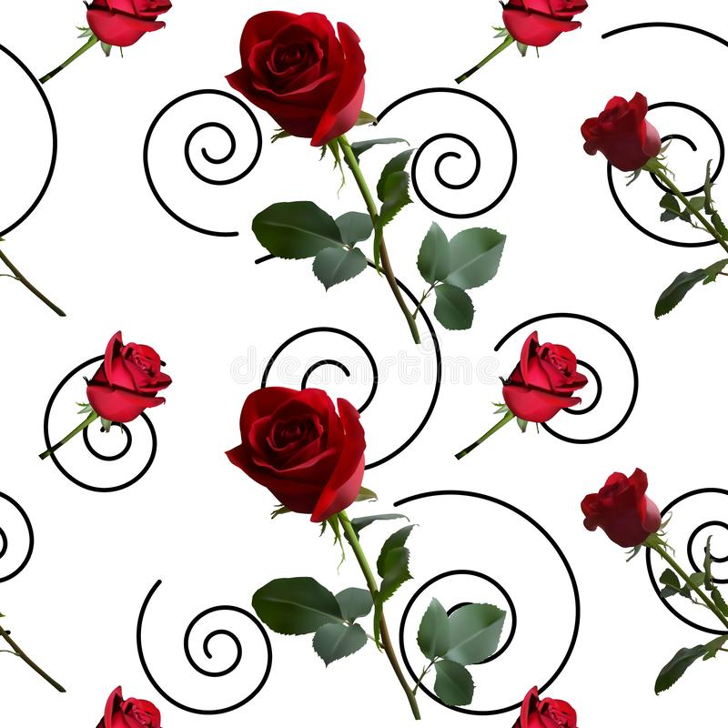 A pattern with red roses with green leaves and a long stem on the background. Of a black spirals stock illustration