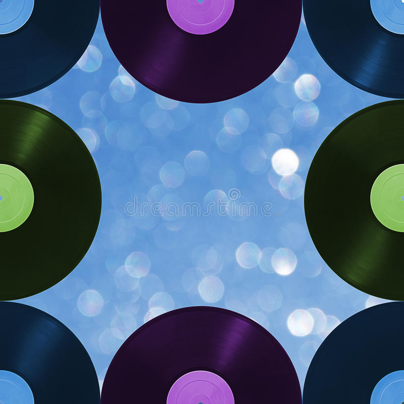 Pattern retro music on blur background, seamless. Vinyl disks that can be repeated vertically and horizontally, on a defocused background vector illustration