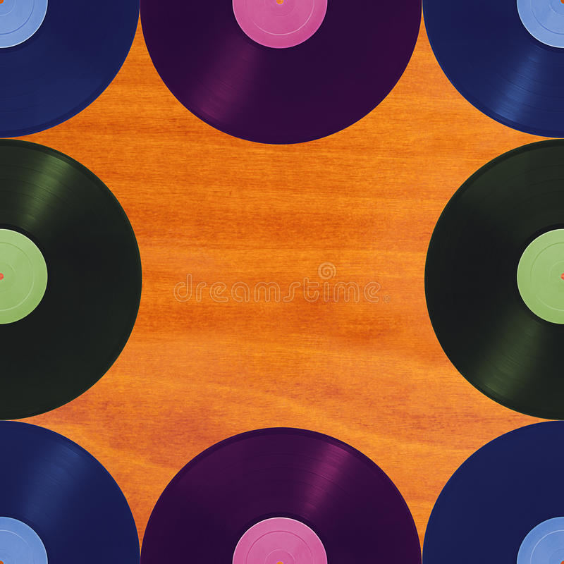 Pattern retro music on wooden background, seamless. Vinyl disks that can be repeated vertically and horizontally, on a wooden background stock illustration