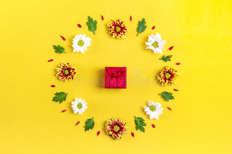 Pattern of round frame of flowers white, red asters, green leaves isolated on yellow background Flat lay Top view royalty free stock image
