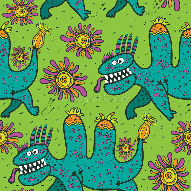 Pattern running green dinosaurs and flowers on a green background stock illustration