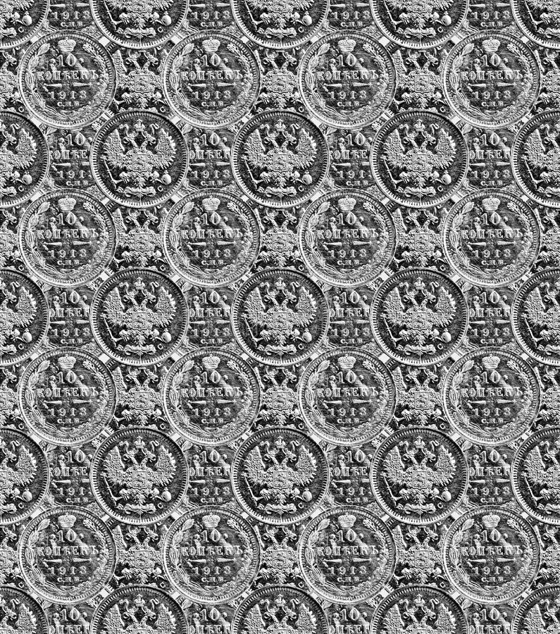 Pattern - russian copecks in black and white vector illustration