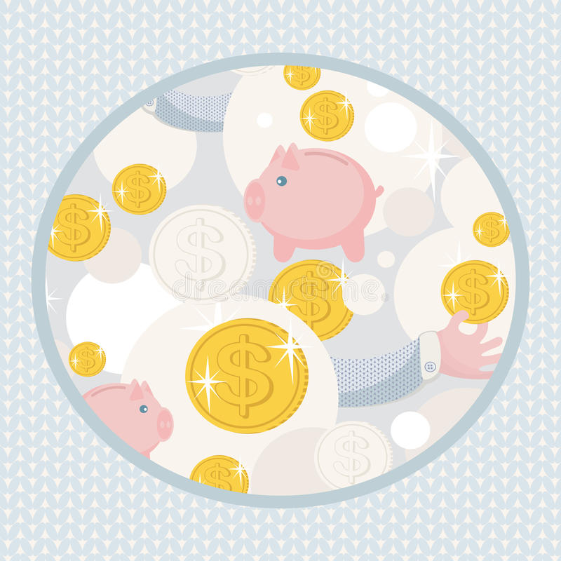 Pattern With Saving Pigs And Money. Royalty Free Stock Photos