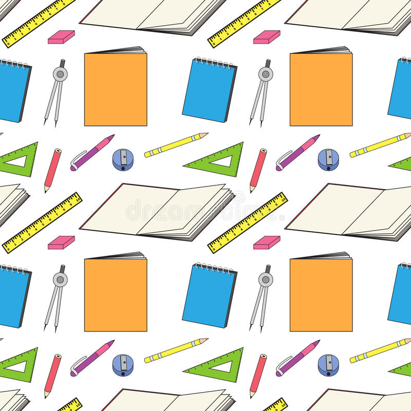 Download Pattern With School Stationery Stock Illustration - Illustration of business, education: 32210377