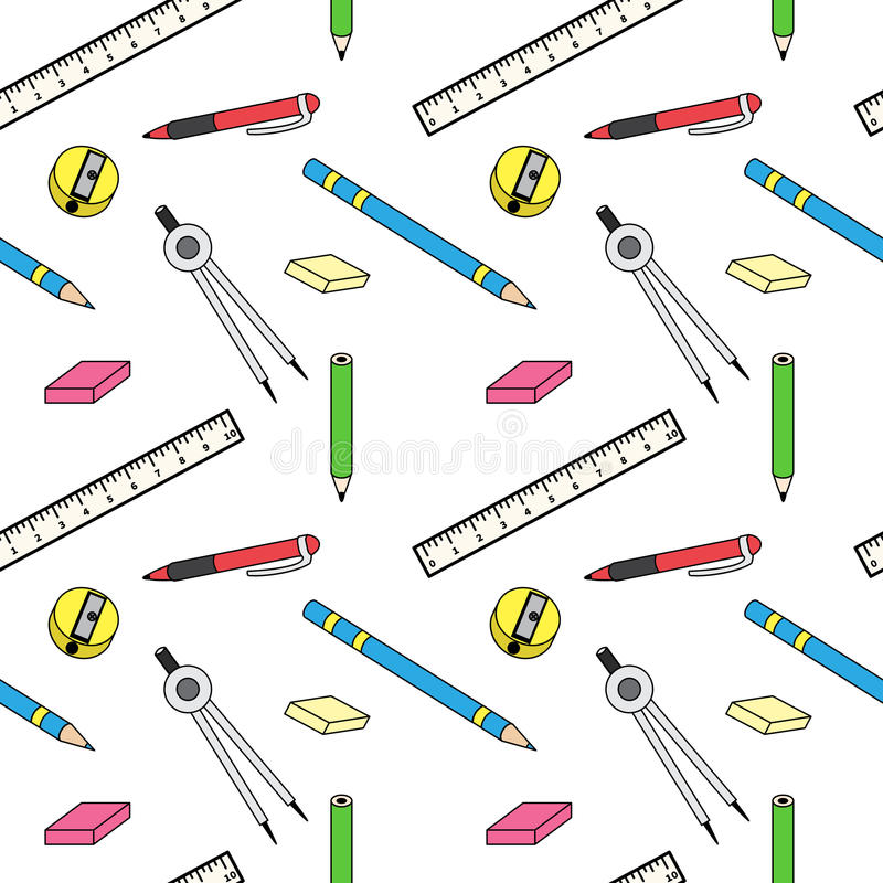Pattern with school stationery stock illustration