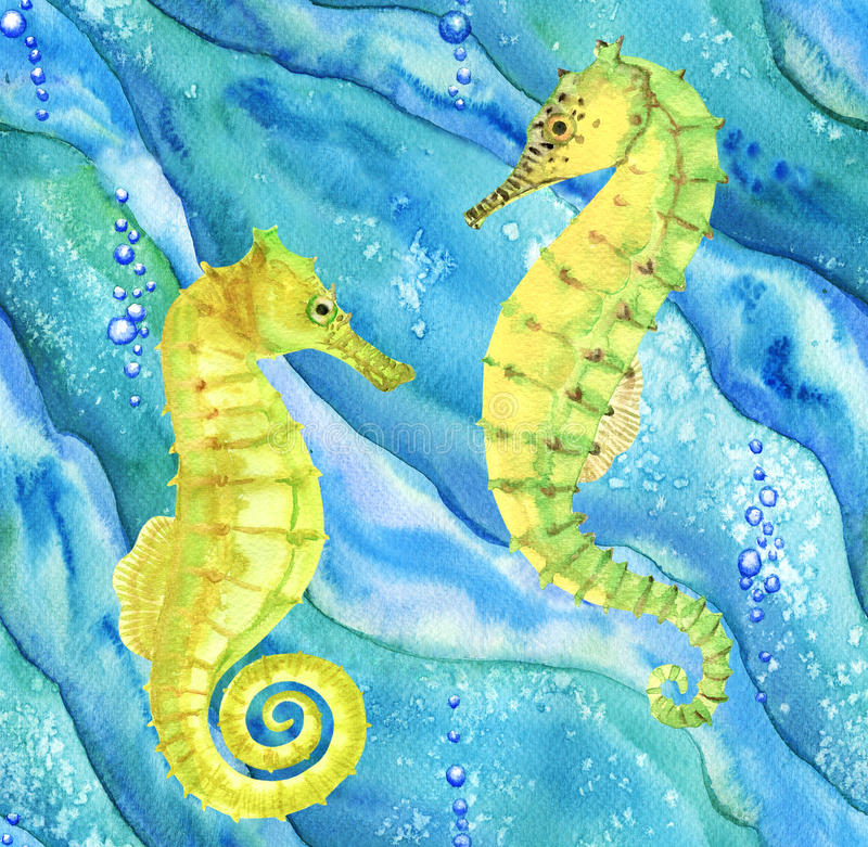 Pattern with seahorses in ocean. Seamless pattern with seahorses in ocean. Hand drawn watercolor illustration stock illustration