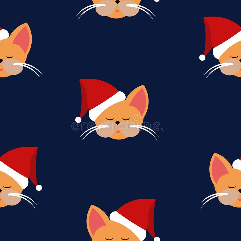 Pattern seals in santa hats. New Year and Christmas. Design of cards, clothes, posters stock illustration