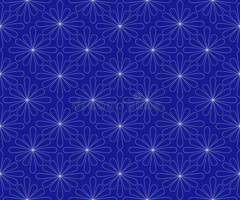 A pattern is a seamless abstract geometric from white contours of flowers on a dark blue background. For fabric. royalty free illustration