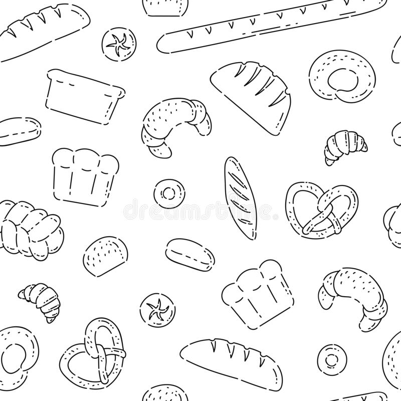 Pattern seamless bakery products bread line doodle icons. Different baked goods vector sketch black isolated. Illustration on white background royalty free illustration