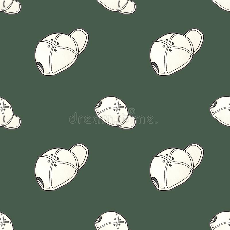 Pattern seamless baseball fashion cap on colorful background. Pattern for textile, paper royalty free illustration