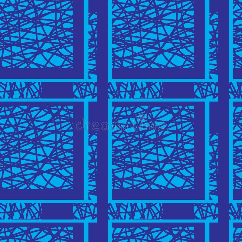 The pattern is seamless in blue tones, geometric, for fabric, paper, wallpaper. royalty free illustration