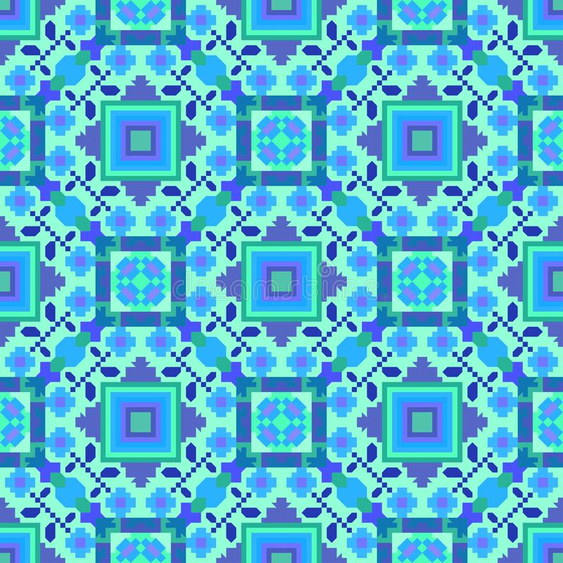 The pattern is seamless in blue tones, geometric ornament for carpets, tiles, paper, plaid and oilcloth. vector illustration