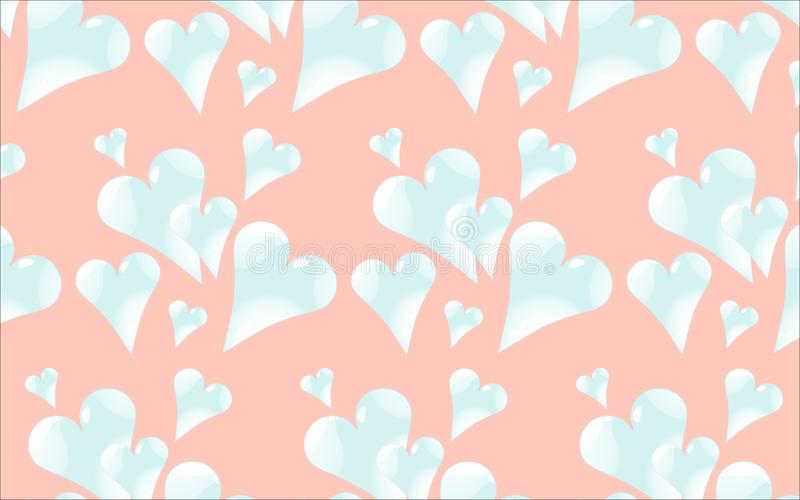 The pattern is seamless from cold, light blue, shiny, glass hearts with highlights to St. Valentine`s Day on a pink background. stock illustration