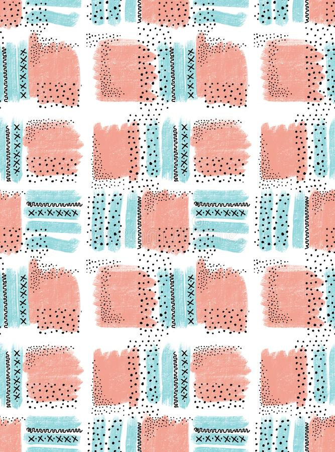 Pattern seamless creative doodle art header with different shapes and textures, memphis style. Design for web, social networks, textile, wrapping royalty free illustration