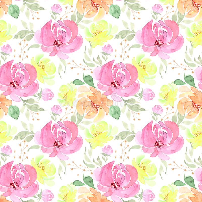 Pattern, seamless drawing a bouquet of flowers on a white background stock illustration