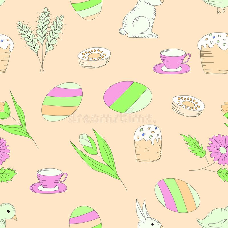 Pattern seamless easter on a pink background, eggs, flowers Easter cake rabbit. vector illustration
