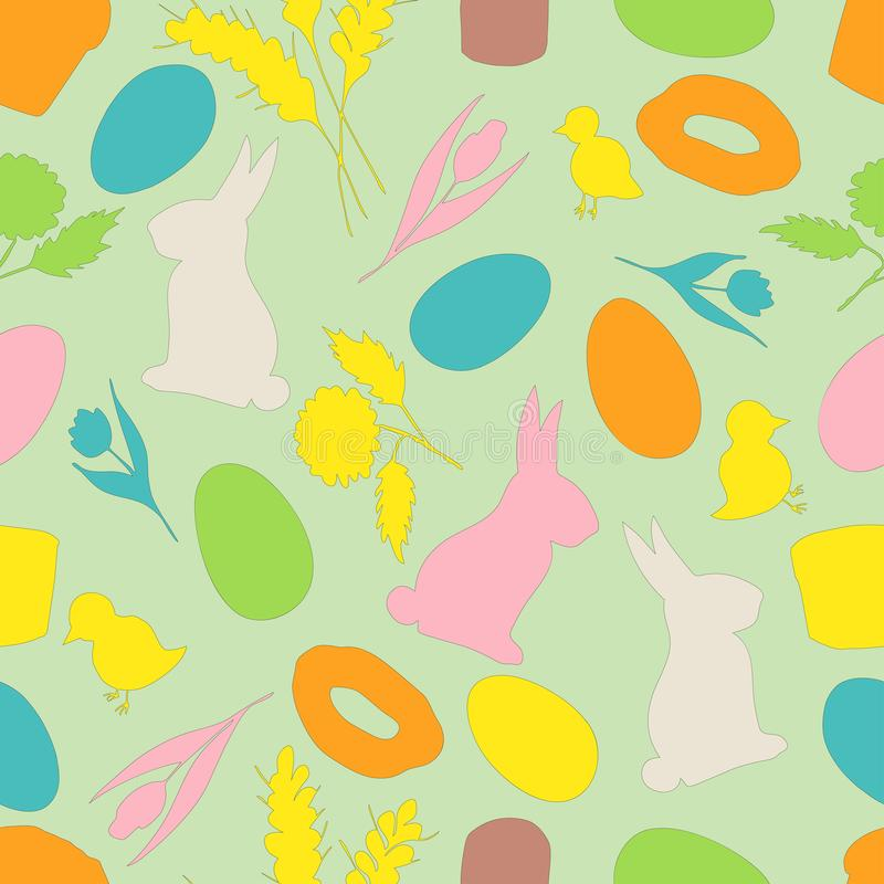 Pattern seamless easter, rabbit, eggs, chicken, flowers on a green background. vector illustration