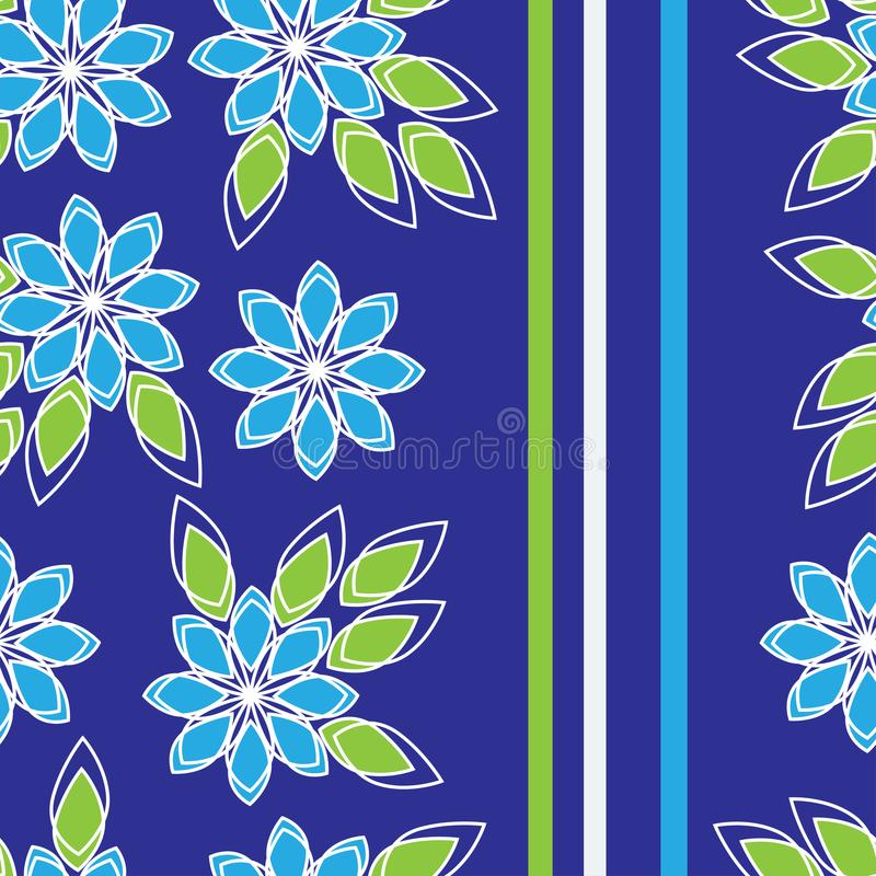 Pattern seamless floral with vertical stripes, for fabric, wallpaper, bed linen.vector stock illustration