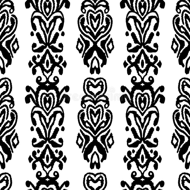 Pattern seamless folklore ornament. Tribal ethnic vector texture. Striped brush in Aztec style. Figure tribal embroidery. Indian, royalty free illustration