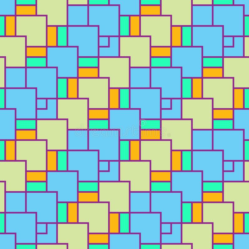The pattern is seamless, geometric of colored squares of different sizes. royalty free illustration