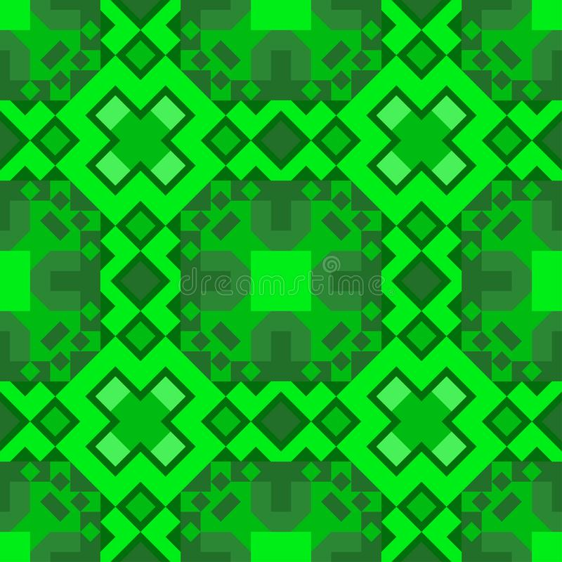 A pattern of seamless geometric shapes from different shapes in green shades. For carpet, wallpaper, packaging, fabric. stock illustration