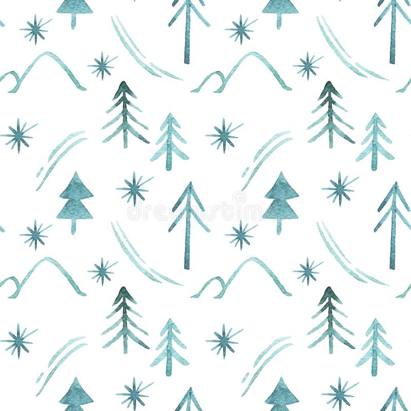 Pattern seamless green fir trees, snowflakes, ski track, hills, star isolated on white background. Christmas trees. Happy New Year background. Winter holidays vector illustration