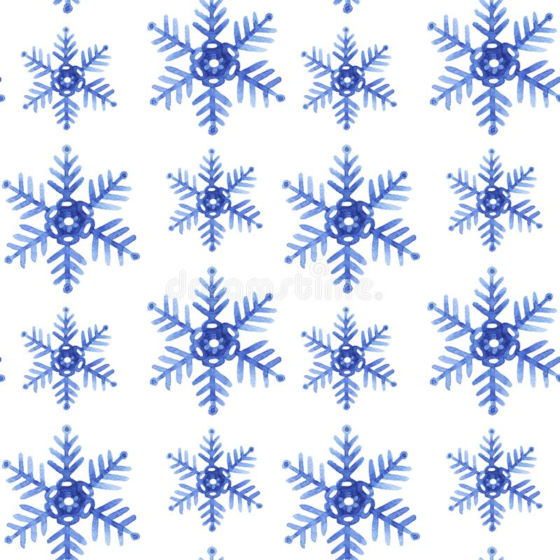 Pattern seamless hand drawn watercolor blu freezing snowflakes isolated on white background. Design for seasons greeting cards or gift wrapping, wallpaper royalty free illustration