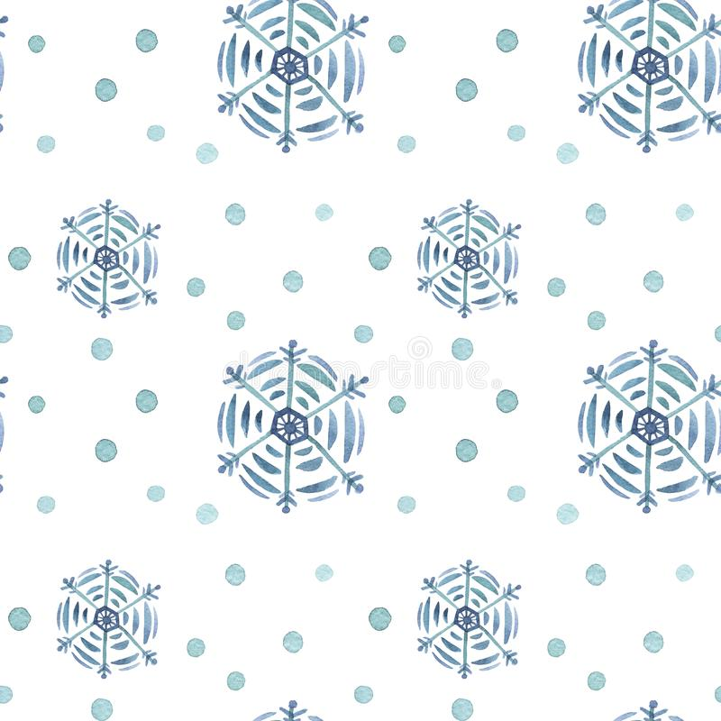 Pattern seamless hand drawn watercolor blu green freezing snowflakes and circle isolated on white background. Design for seasons greeting cards or gift royalty free illustration
