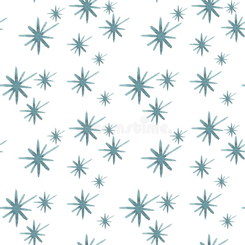 Pattern seamless hand drawn watercolor blu green freezing snowflakes isolated on white background. Design for seasons greeting cards or gift wrapping stock illustration