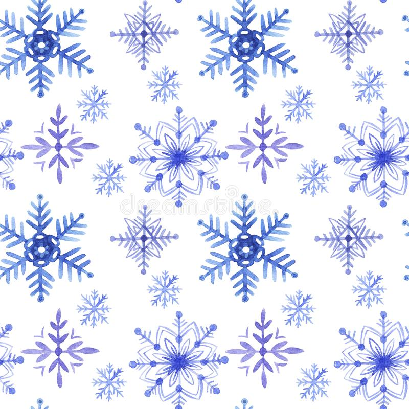 Pattern seamless hand drawn watercolor blu violet freezing snowflakes isolated on white background. Design for seasons greeting cards or gift wrapping royalty free illustration