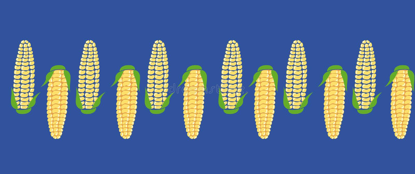 Pattern seamless horizontal of hand drawn yellow corn cobs with green leaves on blue background. royalty free illustration
