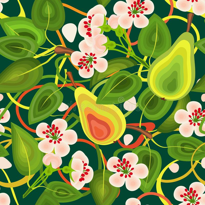 Pattern seamless of leaves of flowers, pears on a green background.For cloth, wallpaper, wrapping paper. royalty free stock image