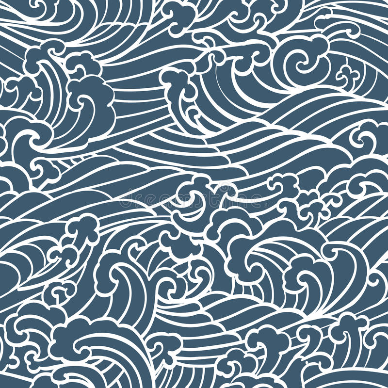 Pattern Seamless Ocean Waves hand draw asian style stock illustration