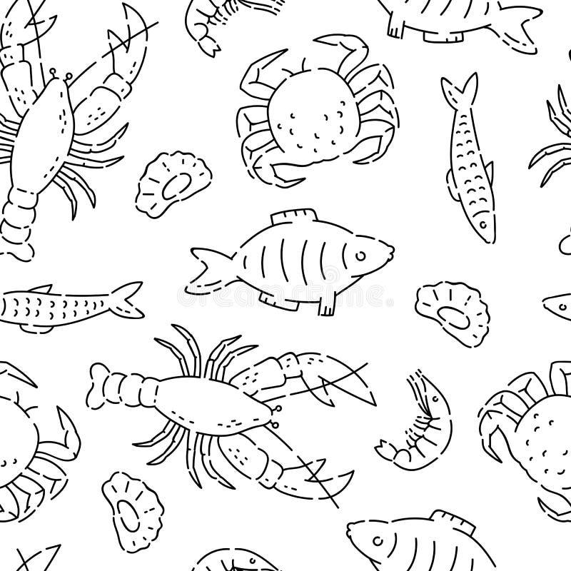 Pattern seamless sea products line doodle. Varieties marine food vector sketch black isolated illustration on white stock illustration