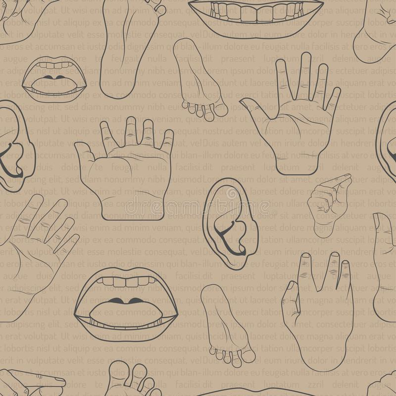 Pattern seamless set of body parts is hand mouth ear foot. doodle hand drawing design style.  illustration eps10 vector illustration