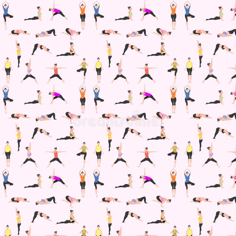 Free Pattern Seamless Set Of Yoga. Female Pose Mountain Downward Dog Warrior Tree Bridge Triangle  Cobra Pigeon Crow. Vector Royalty Free Stock Photos - 148537908