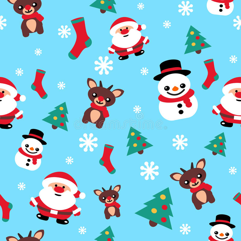 Pattern seamless texture with a snowman Christmas reindeer and S. Anta blue stock illustration