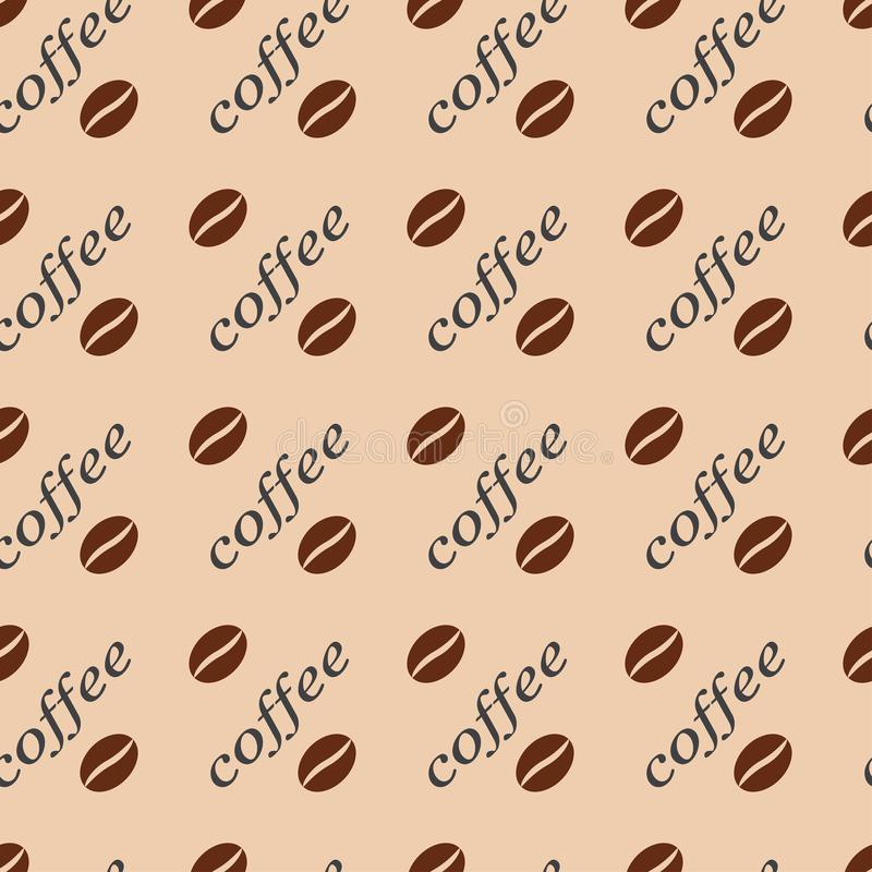 Pattern seamless vector illustration of coffee beans and words on a light background. stock illustration
