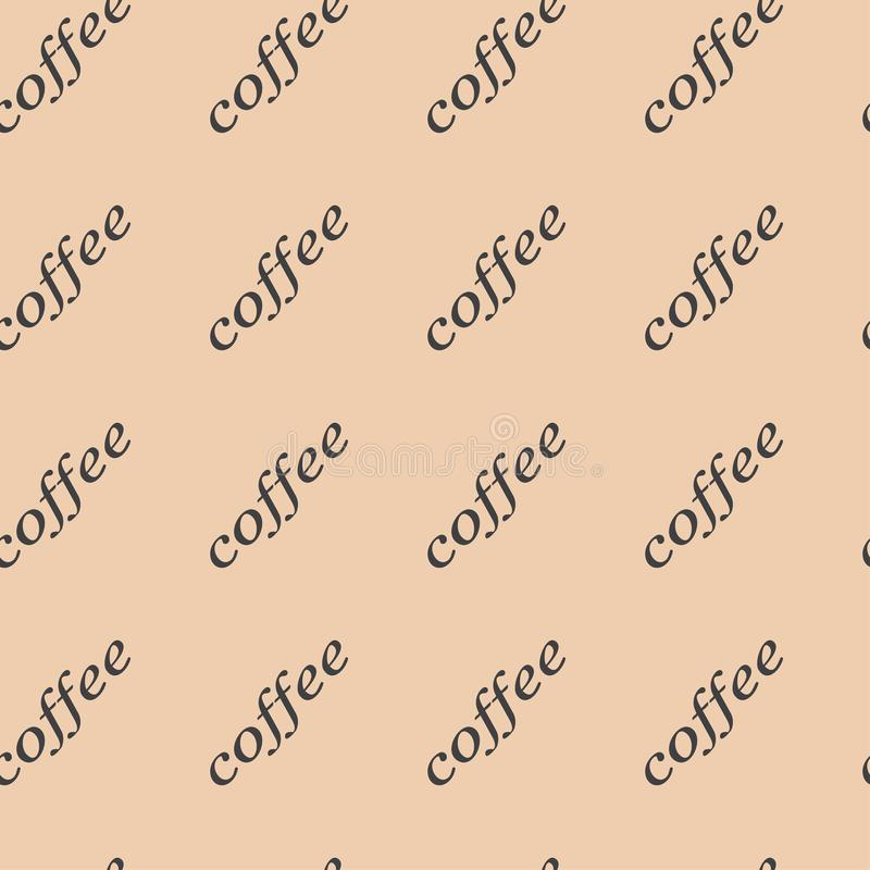 Pattern seamless vector illustration of the words of coffee on a light background. vector illustration